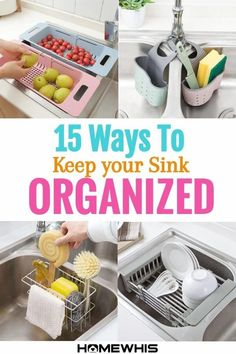 Add storage space to your kitchen by making use of your sink! Here are 15 sink organizers that'll act as storage space for your kitchen accessories, utensils and plates so you won't have cluttered countertops and cabinets. Visit the blog post to see these 15 popular fridge organizers that are crazy popular #organization #sink #kitchenorganization #cabinetorganization #countertoporganization #sinkorganization #organizer #homewhis Freezer Organization, Countertop Organization, Small Kitchen Organization, Bathroom Organization, Organization Hacks, How To Be More Organized, Organized Mom, Declutter Your Home, Organizing Your Home