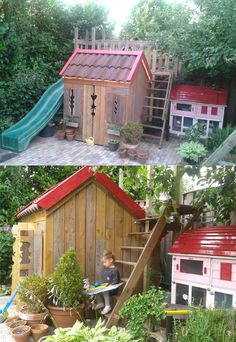 kids playhouse with slide + rabbit home  all made from rest materials