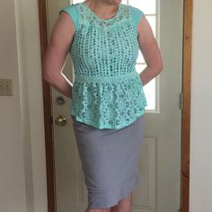 "Mint lace top •Mint color •Complete lace •Zipper closure •Cap sleeves •Peplum waist •Does have stretch •S, M, L available •S:(L:24"", B:17"", S:3"") •M:(L:23.5"", B:17.5"", S:3"") •L:(L:24.5"", B:18.5"", S:3"")•Brand new from vendor Tops Blouses"