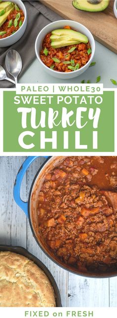 Sweet Potato Turkey Chili is a staple for Whole30 and Paleo. It's a one pot dinner that can be served over a variety of vegetables, plus it's a kid friendly dinner too! #paleo #whole30dinner Kids Cooking Recipes, Paleo Recipes, Kids Meals, Real Food Recipes, Paleo Food, Easy Cooking, Healthy Cooking, Delicious Recipes, Paleo Whole 30