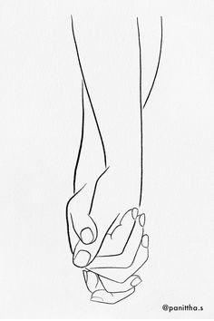 424 Likes, 18 Comments - Panittha Pencil Art Drawings, Art Drawings Sketches, Holding Hands Drawing, Hand Holding, Hand Lines, Line Artwork, Line Art Tattoos, Sad Art, Hand Illustration