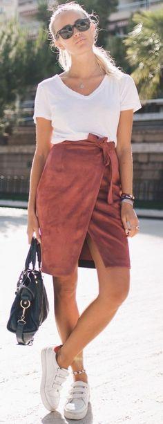 #summer #feminine #dressup | White Tee + Rust Wrap Skirt