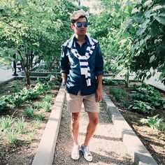 Alexander Liang - Ray Ban Sunglasses, J. Crew Sweater, J. Crew Shorts, Converse Jack Purcell Sneakers - Nautical Notions