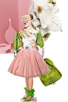 NOCTURNE skirt with MASCHINO bag! #moschino #nocturne #green #friday #powder #shoes #clothes #flowers #design #style #stile