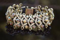 Vintage Jewelry - Vintage Bracelette - Vintage 1950s Coro Signed Pink Aurora Borealis Rhinestone Gold Tone Bracelet