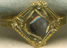 Agate Gold Wire Wrap Bracelet