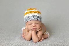 Newborn Prop Boy Short with Hat Stripe Mustard and Grey, Newborn Photo Prop, Baby Boy Beanie, Newborn Pant Set