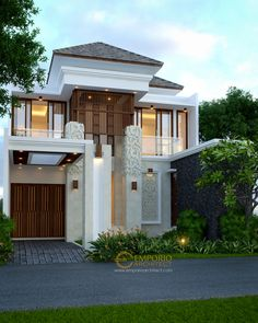 Beverly Park House Design Type - Batam- Quality house design of architectural services, experienced professional Bali Villa Tropical designs from Emporio Architect. Facade Design, Floor Design, Exterior Design, Modern Home Interior Design, Modern House Design, Modern Houses, Dormer House, Exterior Wall Cladding, Halls