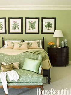 Traditional Green Bedroom. Nightstands, Thomas Pheasant for Baker. Settee covered in Cowtan & Tout Trailing Leaf Linen.