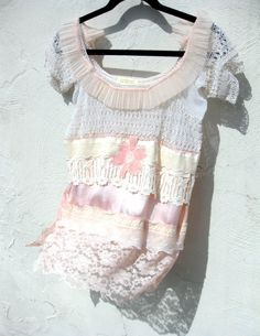 Tatted Lace Peach Pink Satin Blouse by Stacy Leigh. via Etsy.