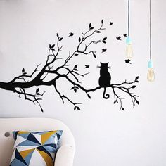Cat On Tree Branch Birds Wall Sticker Vinyl Decal Mural Glass Film Window Stickers Home Decoration Wall Art Design Stickers