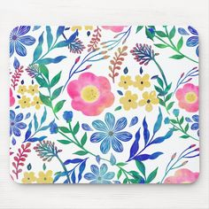 Small Flowers, Pink Flowers, Blue Peonies, Wallpaper Decor, Pink Daisy, Custom Mouse Pads, Floral Illustrations, Surface Pattern Design, Paint Designs