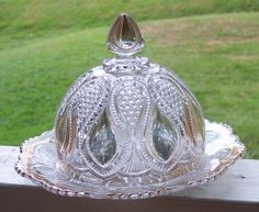 EAPG US Glass New Jersey Drop Loop Pressed Clear Gold Covered Butter Dish c 1900