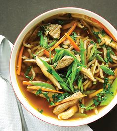 Our Asian-style beef noodle soup offers a hearty bowl of vegetables, buckwheat noodles and vegetables with kick!