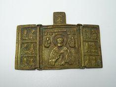 Antik Reise Ikone Triptychon Orthodox Russia Russland 19. Jhd. Messing Santo