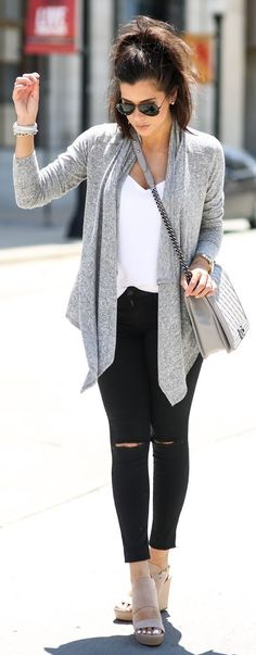 White And Black Casual Outfit by The Sweetest Thing - Leggings Black - Ideas of Leggings Black - Grey; White And Black Casual Outfit by The Sweetest Thing Fall Winter Outfits, Autumn Winter Fashion, Spring Outfits, Fashion Fall, Daily Fashion, Street Fashion, Womens Fashion, Black Casual Outfits, Cute Outfits
