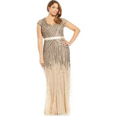 Adrianna Papell Plus Size Cap-Sleeve Beaded Sequined Gown ( 288) ❤ liked on Polyvore  featuring dresses 35b1e07d734