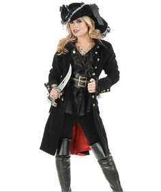 black punk Pirate Captain Costume women adult party cosplay halloween costumes for women pirate costume women y hat - Alternative Measures - - 1 Pirate Cosplay, Adult Pirate Costume, Pirate Halloween Costumes, Halloween Kostüm, Halloween Cosplay, Adult Costumes, Costumes For Women, Cosplay Costumes, Women Halloween