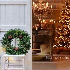 French Country Christmas, Cottage Christmas, Cozy Christmas, Merry And Bright, Winter Holidays, Twinkle Twinkle, Wonderful Time, Ladder Decor, Photo And Video