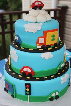Cars and Trucks Cake by pieceofcakebyjamie, via Flickr
