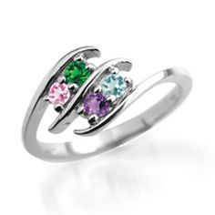 Personalized Birthstone Double Row Bypass Mother's Ring in 10K Gold (3-7 Stones)