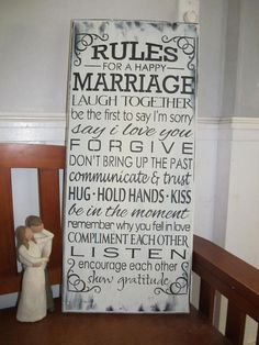 Rules for a happy marriage,wedding, present, wooden sign,free hand,primitive,prim,rustic,art,handmade,homemade,custom,gift, name,home decor