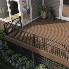 Metal Deck Railing, Deck Railing Design, Patio Deck Designs, Deck Stairs, Back Deck Designs, Deck Balusters, Black Railing, Deck Railing Ideas Diy, Porch Step Railing