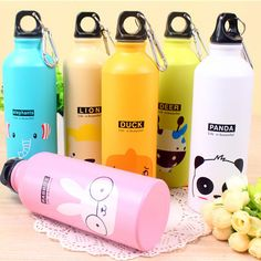 Cartoon Design 500ml Lovely Animals Outdoor Portable Sports Cycling Camping Bicycle Aluminum Alloy School kids Water Bottle