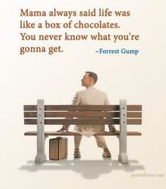 Mama always said life was like a box of chocolates. You never know what you're gonna get.