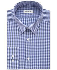 Calvin Klein Steel Men's Slim-Fit Non-Iron Purple Dust Check Dress Shirt