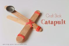 Craft Stick Catapult      These craft stick catapults are fun and simple to put together and are a great boredom buster for when you're stuck indoors.