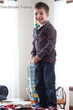 Handmade Frenzy: Gray & Red Striped Boy Bimaa Sweater