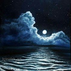Moon and clouds acrylic paint