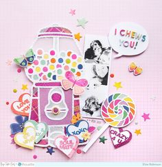 """""""I Chews You!"""" Layout by Elsie Robinson (Paige Taylor Evans) Baby Scrapbook, Scrapbook Pages, Sweet Page, Types Of Candy, Specialty Paper, Creative Memories, Different Patterns, Pattern Paper, Scrapbooking Layouts"""