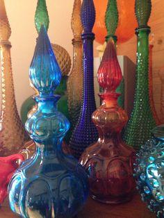 Vintage glass genie bottles.