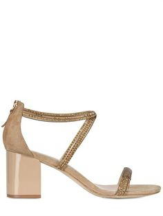 Lola Cruz 70mm Suede Swarovsky Crisscross Sandals on shopstyle.com