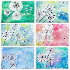 What a suitable theme for the first windy day of summer, and the last art class this school year! The lovely and dainty dandelion! We… rubbercement Summer Art Projects, School Art Projects, Easy Kids Art Projects, Collaborative Art Projects For Kids, Easy Art For Kids, Group Art Projects, Art Education Projects, Kindergarten Art Projects, Kids Crafts