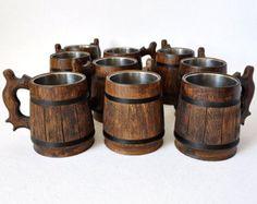 10 Wooden Beer mugs 0,5 l (17oz), natural wood, stainless steel inside,groomsmen gift, beer tankard, german beer Stein, grooms gift (078)