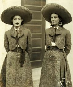 Hermanas Charras Manolita Arriola 2and Maria Louisa Lopez  - visit us on line at www.mainlymexican... and on eBay #Mexican #Mexico #antique #vintage #photography #women