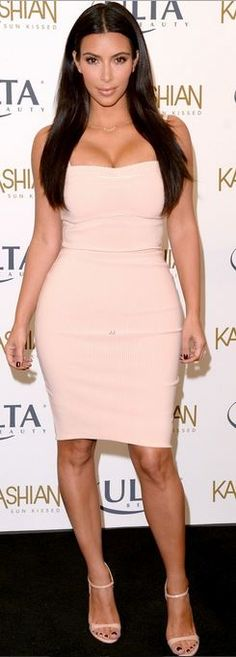 Who made  Kim Kardashian's nude dress that she wore in Los Angeles on August 6, 2014