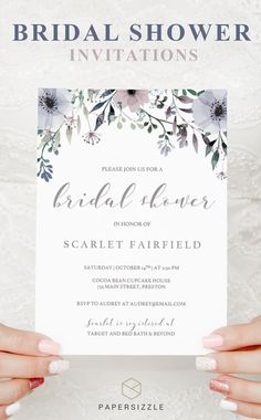 Treat the bride-to-be with a shower to remember with this elegant purple floral bridal shower invitation template. The purple watercolor flowers give the invitation a romantic touch and will make the girls excited for the bridal shower! Purple Wedding Invitations, Bridal Shower Invitations, Wedding Stationery, Diy Wedding On A Budget, Wedding Ideas, Wedding Inspiration, Wedding Trends, Handmade Wedding Decorations, Diy Wedding Backdrop