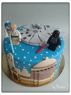Star Wars Lego cake - this is awesome and super amazing and all but I'm curious as to why Luke has a mustache.