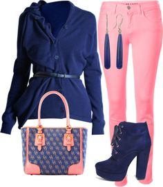 """""""Undoubtedly Legendary"""" by k-cat on Polyvore.  Pink and navy cardigan and skinnies:-)"""
