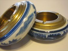 Vintage Ashtray Ceramic and Brass  Heavy with by FourthEstateSale, $24.00