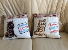 Reading cushions made as Christmas presents. #machineembroidery #presents Design by www.kreativekiwiembroidery.co.nz Make Bunting, Bed Pillows, Cushions, Christmas Presents, Machine Embroidery, Pillow Cases, Reading, Design, Pillows