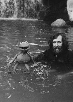 Kermit in his natural habitat. Still sad about Disney owning the Muppets; I remember the good ole days. Jim Henson and Kermit Living Puppets, Fraggle Rock, The Muppet Show, Kermit The Frog, Jim Henson, Famous Faces, Humor, Picture Photo, Make Me Smile