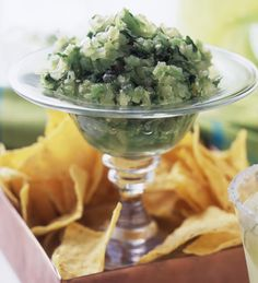 Sun World has delicious recipes for grapes like this tomatillo salsa with SUPERIOR SEEDLESS green grapes.