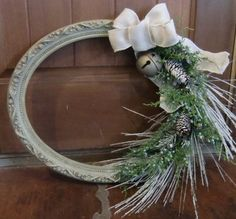 Vintage Picture Frame Christmas Wreath by JensFurnitureRehab