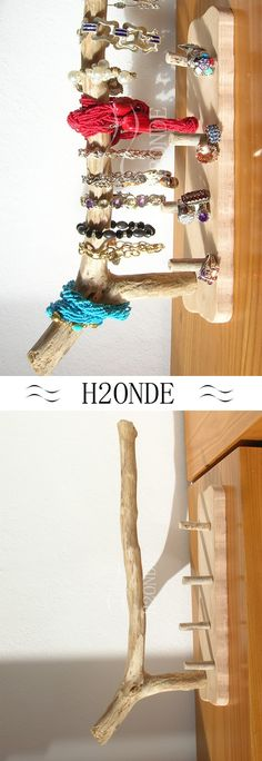 Jewelry display stand for bracelet, ring, watch, necklace made from rustic driftwood. Rustic wood bijoux organizer Bracelet holder display stand organizer jewelry watch ring t bar driftwood shabby modern storage gift her bijoux necklace christmas rustic Porta bracciali anelli orologi collane bjioux espositore gioielli moderno minimal legno mare rustico regalo natale lei shabby bianco stand h2onde made in Italy porte des anneaux de bracelets en bois puertas anillos pulseras de madera