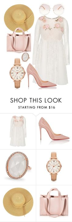 """""""Pink+White Floral"""" by hannahgrinton on Polyvore featuring Notte by Marchesa, Christian Louboutin, Anne Sisteron, FOSSIL, Corto Moltedo and Chloé"""